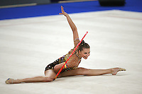 September 21, 2007; Patras, Greece;  Joanna Mitrosz of Poland finishes hoop routine during All-Around final at 2007 World Championships Patras. Joanna qualified Poland for one position in the individual All-Around competition at 2008 Beijing Olympic Games.  Photo by Tom Theobald. .