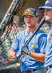 14 March 2016: Tampa Bay Rays outfielder Thomas Milone awaits his turn in the batting cage prior to a pre-season Spring Training game against the Atlanta Braves at Champion Stadium in the ESPN Wide World of Sports Complex in Kissimmee, Florida. The Ray fell to the Braves 5-0 in Grapefruit League play. Mandatory Credit: Ed Wolfstein Photo *** RAW (NEF) Image File Available ***