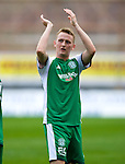 Derek Riordan applauds the Hibs support at the end