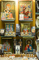 Religious icons of Greek Orthodox christianity on sale in a gifts and souvenirs shop in Kerkyra, Corfu Town, Greece
