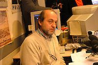 Roma  4 Febbraio 2005.Conferenza stampa nelle sede del giornale Il Manifesto,in  via Tomacelli, per il rapimento di Giuliana  Sgrena  inviata del giornale in Iraq. Gabriele Polo, direttore del Il Manifesto
