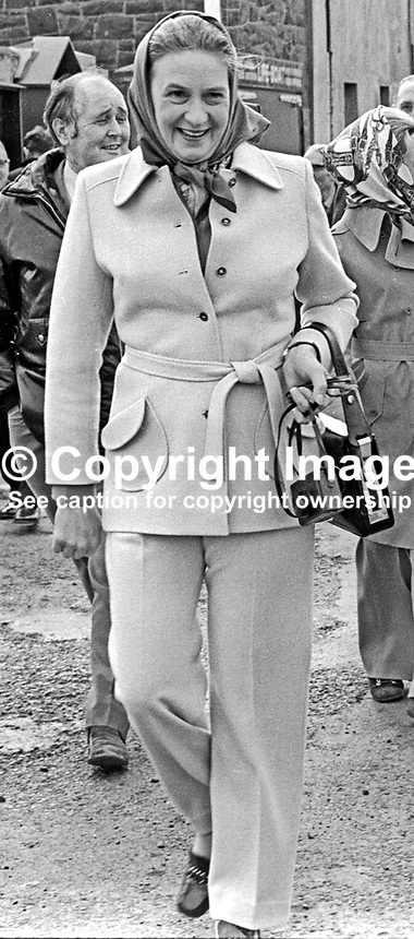 Mrs Celia Whitelaw, wife of William Whitelaw, secretary of state for N Ireland, arriving for a visit to the Donaghadee Lifeboat Station, Co Down,  28th March 1973. She also had a short trip on the local lifeboat, the Sir Samuel Kelly.  197303280158k<br /> <br /> Copyright Image from Victor Patterson, 54 Dorchester Park, Belfast, UK, BT9 6RJ<br /> <br /> t1: +44 28 9066 1296 (from Rep of Ireland 048 9066 1296)<br /> t2: +44 28 9002 2446 (from Rep of Ireland 048 9002 2446)<br /> m: +44 7802 353836<br /> <br /> e1: victorpatterson@me.com<br /> e2: victorpatterson@gmail.com<br /> <br /> The use of my copyright images is subject to my Terms &amp; Conditions.<br /> <br /> It is IMPORTANT that you familiarise yourself with them. They are available on my website at www.victorpatterson.com.<br /> <br /> None of my copyright images may be used on a website unless they are visibly watermarked, i.e. &copy; Victor Patterson within the body of the visible image. Metadata denoting my copyright must NOT be deleted. <br /> <br /> Web use (maximum size - 300 kb) is extra at currently recommended NUJ rates.