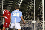 10 November 2010: UNC's Martin Murphy (20) heads the first goal into the side of the net. The University of North Carolina Tar Heels the North Carolina State University Wolfpack at Koka Booth Stadium at WakeMed Soccer Park in Cary, North Carolina in an ACC Men's Soccer Tournament Quarterfinal game.