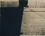 Prague embankment created as a cyanotype print