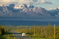 View of Mount Sanford of the Wrangell St. Elias range from the Glenn Highway, just outside Glennallen. Alaska