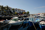 Fishing boats in Mogan harbour, Gran Canaria, Canary Islands, Spain