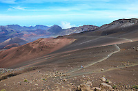 Hikers on the Sliding Sands Trail at Haleakala National Park, Maui.