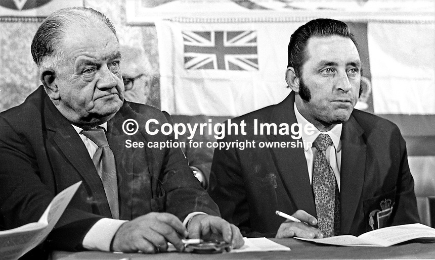 James Anderson, chairman, Ulster Defence Association, Protestant para-military organisation, N Ireland, right, with Billy Hull, joint chairman of LAW, Loyalist Association of Workers, at a joint press conference.197211070702JA+BH.<br /> <br /> Copyright Image from Victor Patterson, 54 Dorchester Park, Belfast, UK, BT9 6RJ<br /> <br /> t1: +44 28 9066 1296 (from Rep of Ireland 048 9066 1296)<br /> t2: +44 28 9002 2446 (from Rep of Ireland 048 9002 2446)<br /> m: +44 7802 353836<br /> <br /> e1: victorpatterson@me.com<br /> e2: victorpatterson@gmail.com<br /> <br /> The use of my copyright images is subject to my Terms &amp; Conditions.<br /> <br /> It is IMPORTANT that you familiarise yourself with them. They are available on my website at www.victorpatterson.com.<br /> <br /> None of my copyright images may be used on a website unless they are visibly watermarked, i.e. &copy; Victor Patterson within the body of the visible image. Metadata denoting my copyright must NOT be deleted. <br /> <br /> Web use is extra at currently recommended NUJ rates.