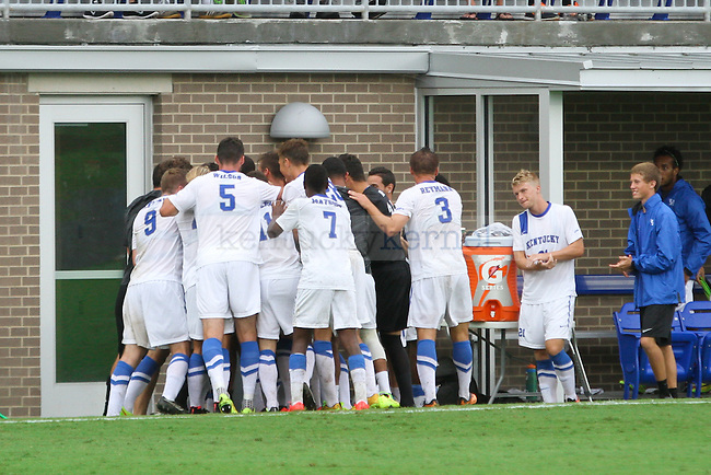 The University of Kentucky men's soccer team celebrates the games first goal in the second half of the University of Kentucky vs. Belmont men's soccer game at the Wendell and Vickie Bell Soccer Complex in Lexington, Ky., on Sunday, August 31, 2014. Photo by Jonathan Krueger   Staff