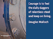 Quote:  Courage is to feel the daily daggers of relentless steel and keep on living.  By Douglas Malloch.