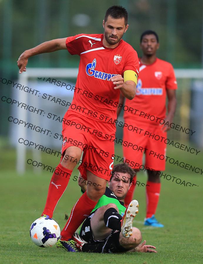 Fudbal season 2013-2014<br /> FK Crvena Zvezda pripreme<br /> Prijateljski mec<br /> Crvena Zvezda v Verzej<br /> Goran Gogic (L)<br /> Brezice, 07.09.2014.<br /> foto: Srdjan Stevanovic/Starsportphoto &copy;