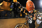 PITTSBURGH, PA - JANUARY 23: LaMarr Woodley #56 of the Pittsburgh Steelers celebrates with the fans after defeating the against the New York Jets in the AFC Championship Playoff Game at Heinz Field on January 23, 2011 in Pittsburgh,Pennsylvania. (Photo by: Rob Tringali) *** Local Caption *** LaMarr Woodley