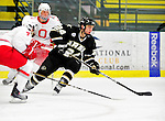 2 January 2011: Army Black Knight forward Danny Colvin, a Junior from Vernon, NJ, in action against the Ohio State University Buckeyes at Gutterson Fieldhouse in Burlington, Vermont. The Buckeyes defeated the Black Knights 5-3 to win the 2010-2011 Catamount Cup. Mandatory Credit: Ed Wolfstein Photo
