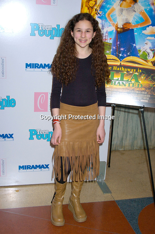 "Hallie Kate Eisenberg ..at The Premiere of ""Ella Enchanted""  on March 28, 2004 ..at the Clearview Beekman Theatre in New York City. ..Photo by Robin Platzer, Twin Images"