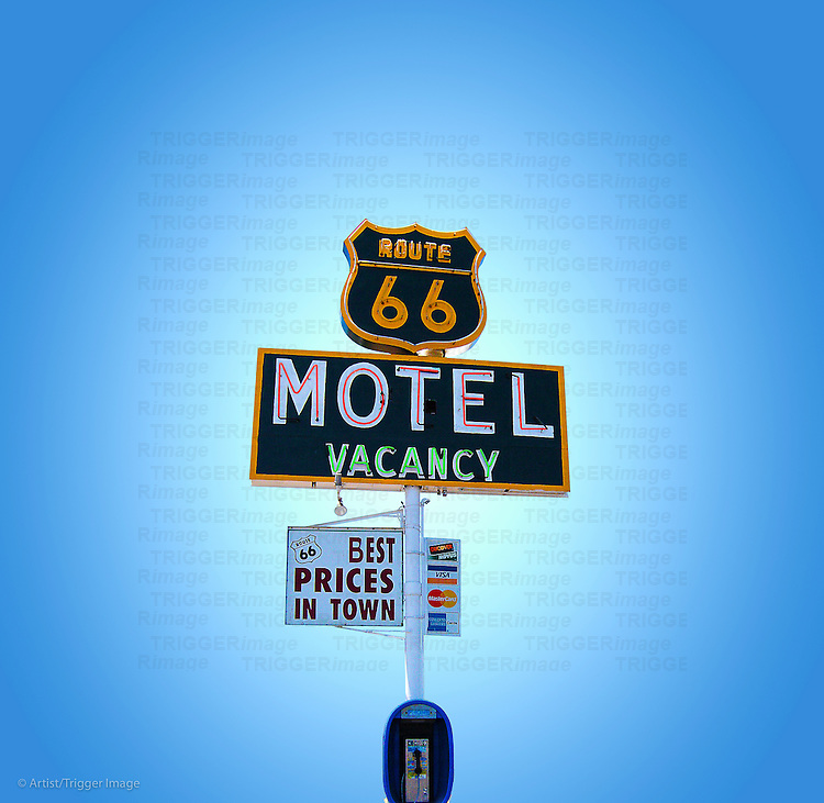 Blue sky with vintage neon street sign in USA