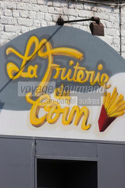 France, Nord (59),Côte d'Opale, Dunkerque:  Enseigne friterie  //  France, Nord, Opal Coast, Dunkerque: teaches chip shop