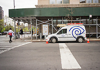 A Time Warner Cable van in the Chelsea neighborhood of New York  on Thursday, April 30, 2015. TWC had their best quarter in adding subscribers in six years but first-quarter earnings feel short of analysts' expectations. (© Richard B. Levine)