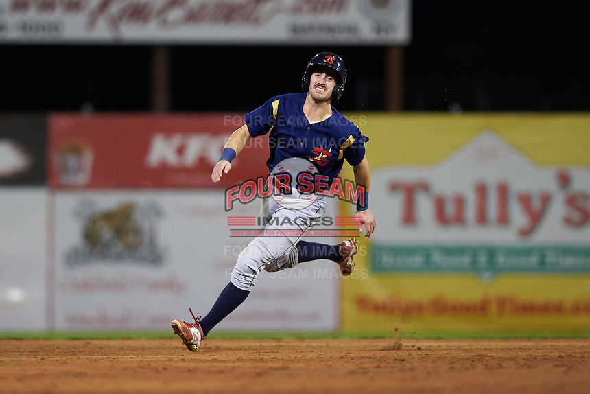 State College Spikes outfielder Michael Pritchard (5) running the bases during a game against the Batavia Muckdogs August 22, 2015 at Dwyer Stadium in Batavia, New York.  State College defeated Batavia 5-3.  (Mike Janes/Four Seam Images)