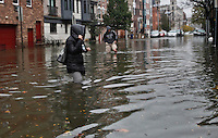 A flooded street in Hoboken while Hurricane Sandy affect New York area , United States. 30/10/2012. Photo by Kena Betancur/VIEWpress.