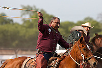 UVALDE, TX - APRIL 26, 2008: The Southwest Texas Ranch Heritage Association Ranch Rodeo held at the Uvalde Fairgrounds in Uvalde, Texas. (Photo by Jeff Huehn)