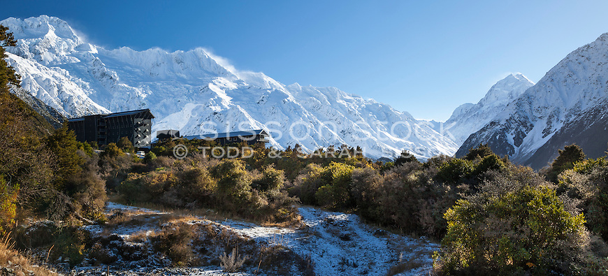 The Hermitage Hotel & Aoraki Mt Cook after winter storm.