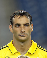 Columbus Crew defender Sebastian Miranda (21). In a Major League Soccer (MLS) match, the New England Revolution defeated Columbus Crew, 2-0, at Gillette Stadium on September 5, 2012.