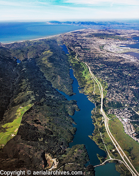 aerial photograph San Andreas Fault, Crystal Springs Reservoir, San Mateo County, California