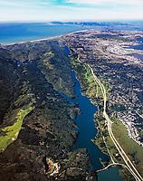 aerial photograph San Andreas Fault, Crystal Springs Reservoir, San Mateo County, California