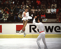 Ekaterina Gordeeva and Sergei Grinkov of Soviet Union perform in pairs competition on way to winning their first gold at World Championships in March, 1986 at Geneva, Switzerland.. (Photo by Tom Theobald)