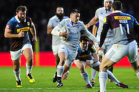 Dan Bowden of Bath Rugby takes on the Harlequins defence. Aviva Premiership match, between Harlequins and Bath Rugby on November 27, 2016 at the Twickenham Stoop in London, England. Photo by: Patrick Khachfe / Onside Images