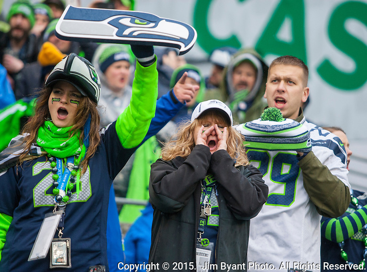 Seattle Seahawks fans cheer for the Seahawks during the NFC Championship game against  the Green Bay Packers at CenturyLink Field in Seattle, Washington on January 18, 2015.  The Seattle Seahawks beat the Green Bay Packers in overtime 28-22 for the NFC Championship Seattle  ©2015. Photo by Jim Bryant. All Rights Reserved.
