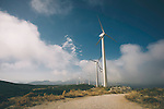 Wind turbine on hillside in Greece