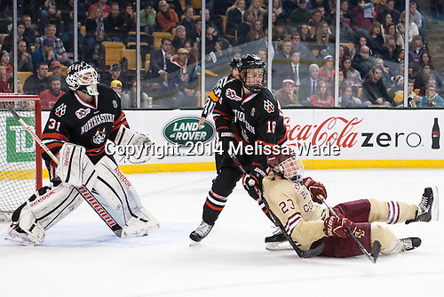 Clay Witt (NU - 31), John Stevens (NU - 18), Patrick Brown (BC - 23) - The Boston College Eagles defeated the Northeastern University Huskies 4-1 (EN) on Monday, February 10, 2014, in the 2014 Beanpot Championship game at TD Garden in Boston, Massachusetts.