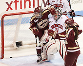 Emily Field (BC - 15), Chloe Desjardins (NU - 29), Ashley Motherwell (BC - 18) - The Northeastern University Huskies defeated Boston College Eagles 4-3 to repeat as Beanpot champions on Tuesday, February 12, 2013, at Matthews Arena in Boston, Massachusetts.