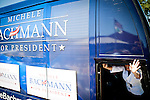 Republican presidential candidate Michele Bachmann leaves at a campaign stop in Atlantic, Iowa, August 8, 2011.