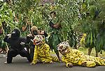 Pride mascots take part in the Dayurejo conservation carnival.