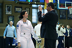 12 February 2017: UNC's Samantha Galina (left) prepares for Epee. The University of North Carolina Tar Heels played the Northwestern University Wildcats at Card Gym in Durham, North Carolina in a 2017 College Women's Fencing match. UNC won the dual match 15-12 overall, 5-4 Foil, 5-4 Epee, and 5-4 Saber.