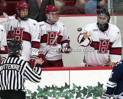 Jacob Olson (Harvard - 26), Viktor Dombrovskiy (Harvard - 27), Sihak Lee (Harvard - 1) - The Harvard University Crimson tied the visiting Yale University Bulldogs 1-1 on Saturday, January 21, 2017, at the Bright-Landry Hockey Center in Boston, Massachusetts.