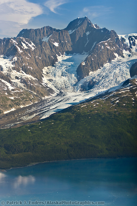 Aerial of Serpentine and Mount Gilbert, Chugach mountains, Harriman Fjord, Prince William Sound, Alaska