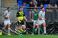 Jeff Williams of Bath Rugby is all smiles after scoring a try. Pre-season friendly match, between Leinster Rugby and Bath Rugby on August 26, 2016 at Donnybrook Stadium in Dublin, Republic of Ireland. Photo by: Patrick Khachfe / Onside Images