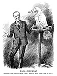 "Hail, Columbia! President Wilson (to American Eagle). ""Gee! What a dove I've made of you!"" (an unhappy American eagle has been made into a dove of peace during WW1)"