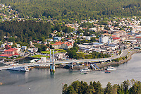 Aerial view of O'Connell bridge in downtown Sitka, Alaska.