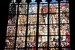 Detail of Stained Glass Window, Onze Lieve Vrouwekathedraal - Cathedral Church of Our Lady, Antwerp, Belgium, Europe, Building, Architecture, Religion