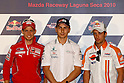 July 24, 2010 - Laguna Seca, USA - From left to right, Ducati's Casey Stoner, Fiat-Yamaha's Jorge Lornzo and .Repsol Honda's Andrea Dovizioso pictured at a press conference prior to the U.S. Grand Prix held on July 25, 2010. (Photo Andrew Northcott/Nippon News)
