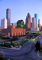 Stock photo of Wortham Center and Downtown Houston Skyline During Daytime