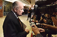 Former Mayor Rudy Giuliani (Republican of New York) speaks with members of the media in the lobby of the Trump Tower in New York, New York on November 22, 2016. <br /> Credit: Anthony Behar / Pool via CNP /MediaPunch