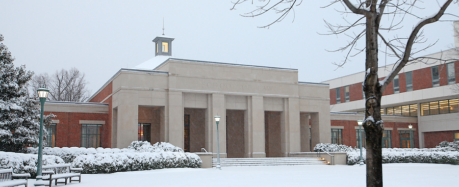 Snow falls over Thomas Jefferson's University of Virginia in Charlottesville, VA.