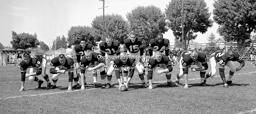 1960 Raider offense at a park in Oakland..1960 photo/Ron Riesterer