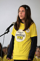 NO FEE PICTURES.8/3/12 Victoriah Kmih, Belmayne ET, Dublin , taking part in the Dublin County final, part of the overall Eason 2012 Spelling Bee, held at St Olaf's NS, Dundrum. .For further details visit www.easons.com/spellingbee and stay tuned to RTE 2fm. Picture:Arthur Carron/Collins