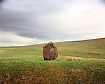 Maen Llia Nr Ystradfellte, Powys Wales. Celtic Britain published by Orion. A diamond shaped Bronze Age standing Stone.